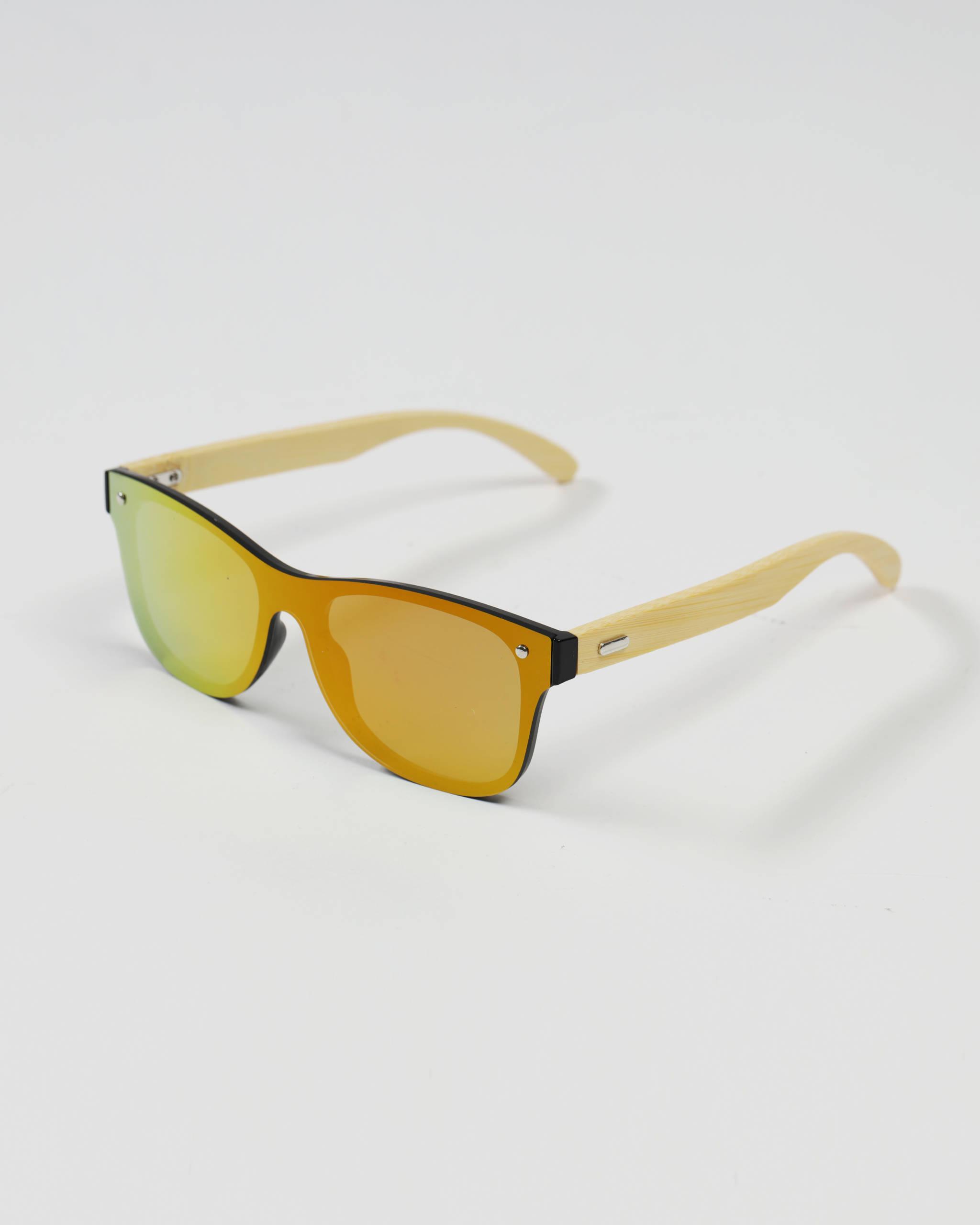 Okulary przeciwsłoneczne drewniane żółte