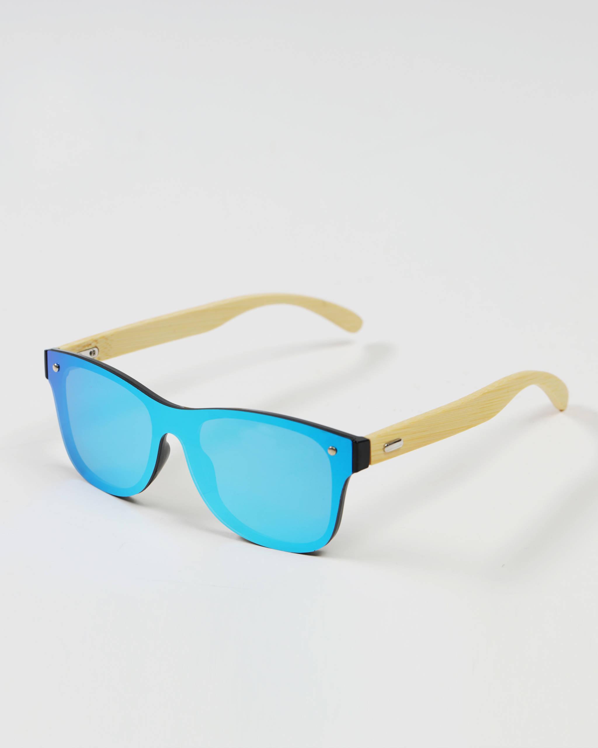 Okulary przeciwsłoneczne drewniane niebieskie